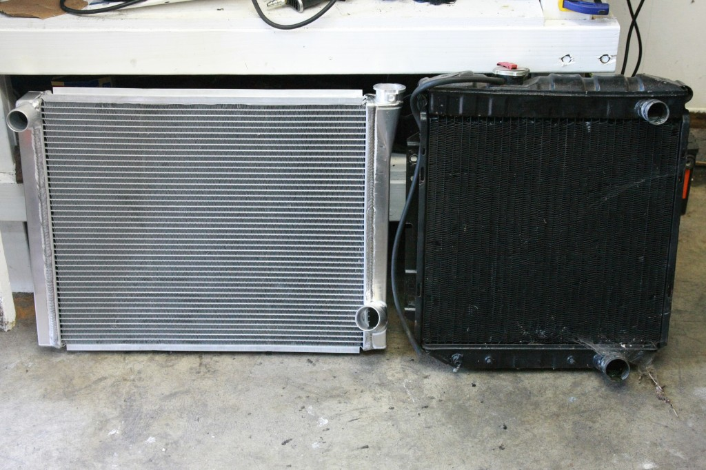 Old radiator on the right, new Howe Racing radiator on the left. Double the HP requires a cooling upgrade